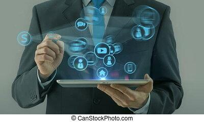 concept, pointage, tablette, haut, business, début, tampon, homme