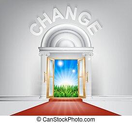 concept, porte, changement
