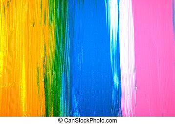 concept., poser, exposer, main, contemporain, rose, plat, voile de surface, fond, couleur, texture, drawn., moderne, résumé, acrylique, painting., fait main, jaune, bleu, canevas., original., peint, typon, art.