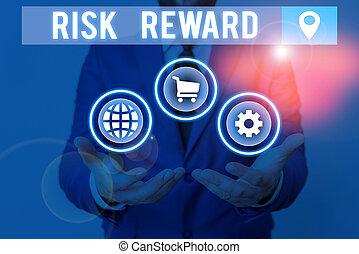 concept, potentiel, profit, évaluer, écriture, reward., relatif, signification, loss., écriture, commercer, sien, texte, risque