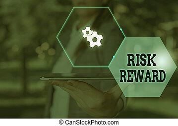 concept, potentiel, profit, évaluer, reward., relatif, signification, loss., écriture, commercer, sien, texte, risque