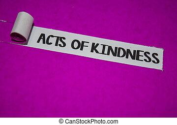 concept, pourpre, positif, déchiré, texte, vibes, papier, gentillesse, actes, inspiration