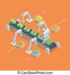 concept., processus, confection, isométrique, argent