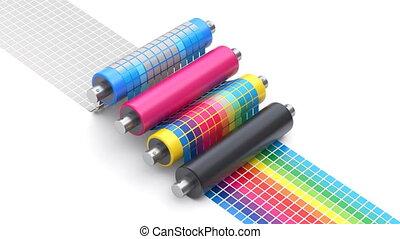 concept, processus, impression, diagramme, cmyk, couleur, ensemble, rouleaux, imprimante