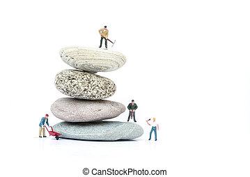 concept, professionnels, obstacles, surmonter, miniature, collaboration