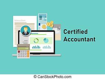 concept, professionnels, ordinateur portable, calculatrice, comptable, papier, certifié, education, smile., ca, certification.