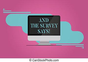concept, projection, réaction, communiquer, texte, résumé, says., reflété, résultats, arrière-plan., signification, informatique, enquête, écriture, vide, monté, poll, écran, moniteur