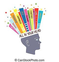concept, psychologie, pensée, positif, illustration, sentiments, optimiste