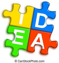 concept, puzzle, -, idée, multi-couleur, combiné