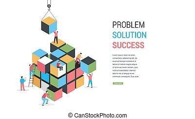 concept, puzzle, résoudre, solution, cube, problème, bannière