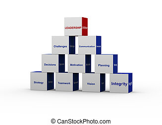 concept, pyramide, direction, 3d