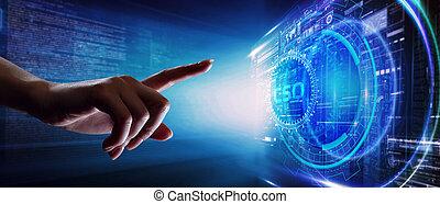 concept., réalité, business, virtuel, réseau, jeune, homme affaires, internet, fonctionnement, voit, inscription:, technologie, lunettes, cso