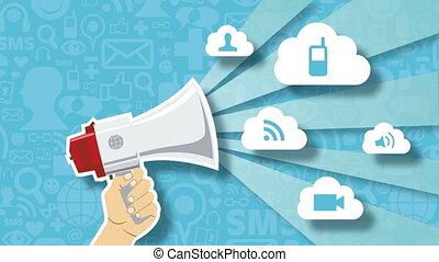 concept, réseau, animation, social, technologie, marché