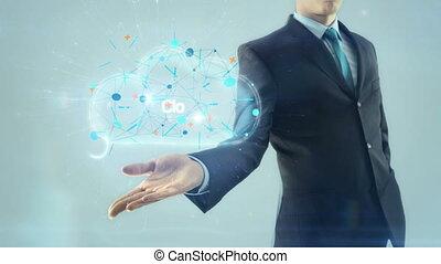 concept, réseau, business, calculer, lumière, serveur, prise, conception, fond, main, homme affaires, blanc, plan, nuage, homme