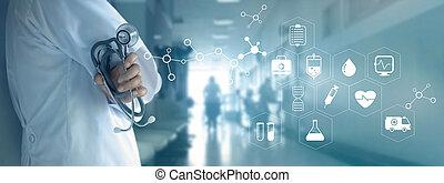 concept, réseau, docteur, monde médical, fond, stéthoscope, blanc, technologie, hôpital, icône