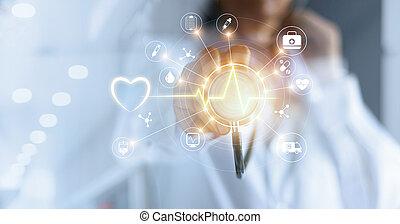 concept, réseau, docteur, monde médical, moderne, virtuel, main, connexion, toucher, stéthoscope, interface, médecine, technologie, écran, icône
