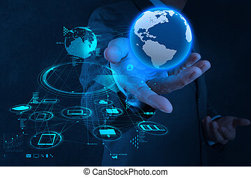 concept, réseau, fonctionnement, exposition, moderne, homme affaires, main, informatique, nouveau, la terre, structure, social