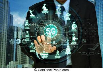 concept, réseau, internet, 5g