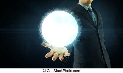 concept, réseau, sur, global, main, numérique, internet, homme affaires, prise