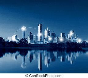 concept, réseau, usa, dallas, dallas, connexion, en ville, horizon, aube, texas, technologie, reflet