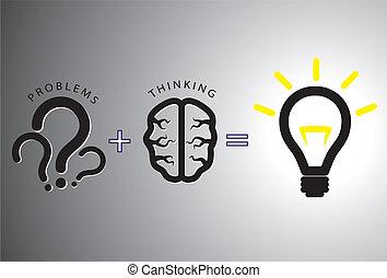 concept, résoudre, -, solution, il, cerveau, utilisation, problème