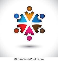 concept, résumé, ensemble, activité, children(kids), bâtiment, circle-, groupe, icônes, enfants, aussi, graphic., amitié, coloré, illustration, représente, ceci, multi-couleur, etc, vecteur, équipe, jouer