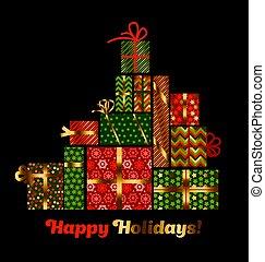concept, résumé, ensemble, style., style, hiver, pyramid., carte, vacances, noël, plat, assorti, ornament., souvenir, emballage, santa, présent, boîte, cadeau, patchwork, salutation, paysan, noël