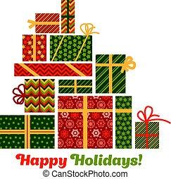 concept, résumé, holiday., ensemble, style., style, hiver, pyramid., présent, noël, plat, assorti, ornament., souvenir, emballage, santa, carte, boîte, cadeau, patchwork, salutation, paysan, noël