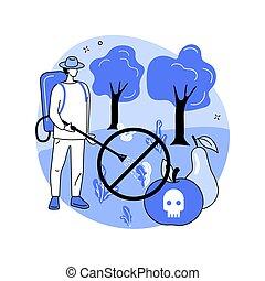 concept, résumé, illustration., interdiction, herbicide, vecteur