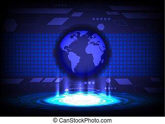 concept, résumé, vecteur, fond, mondiale, technologie