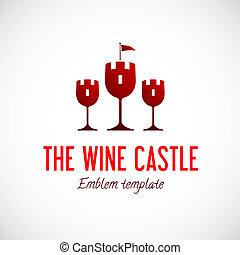 concept, résumé, verre, vecteur, château, vin, symbole, icône