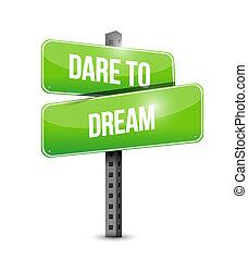 concept, rêve, route, défi, signe