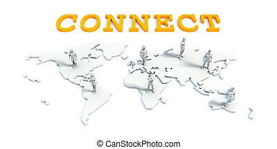 concept, relier, equipe affaires