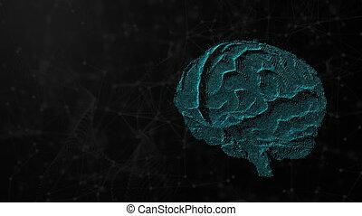 concept, render, cerveau, intelligence, futuriste, illustration, possibilités, esprit, informatique, artificiel, numérique, toile de fond, fond, 3d