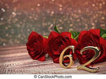 concept, render, roses, bois, 62nd., desk., anniversaire, sixty-second., rouges, 3d