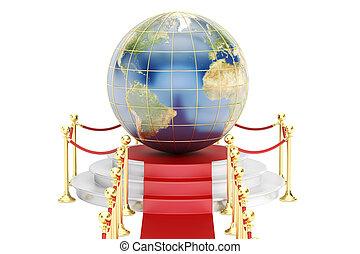 concept, rendre, podium, 3d, la terre