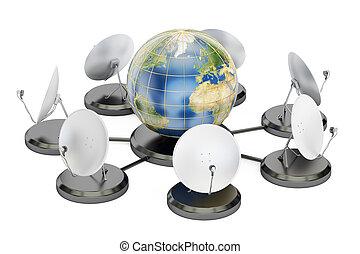 concept, rendre, télécommunications globales, 3d