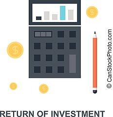 concept, retour, investissement, icône
