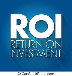 concept, retour, roi, investissement, acronyme, -