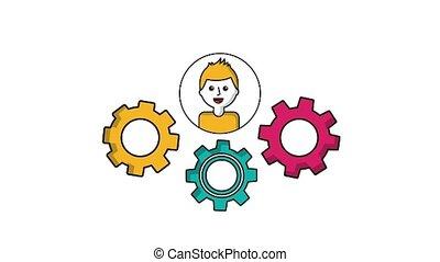 concept, roue dentée, travail, engrenages, équipe, homme