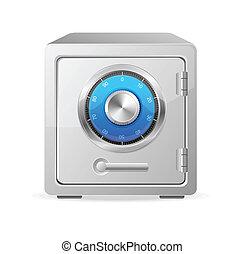 concept, sûr, métal, vecteur, icon., sécurité
