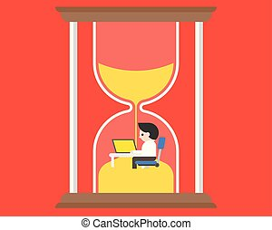 concept, sablier, bureau fonctionnant, administration du temps, bureau, homme affaires