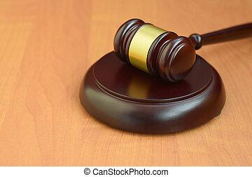 concept, salle audience, bureau, pendant, espace, juge, maillet, bois, vide, text., trial., marteau, judiciaire, justice, droit & loi