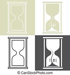 concept, sandglass, vecteur, ensemble, illustration