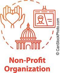 concept, sans but lucratif, organisation, icône