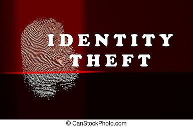 concept, scanner, impression, pouce, lumières, rouges, vol identité