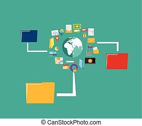 concept., sharing., distribution., management., transfert, contenu, fichier, données