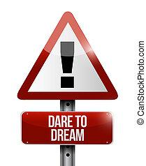 concept, signe, avertissement, défi, rêve, route