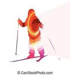 concept, silhouette, coloré, illustration, fond, ski, actif, gosse