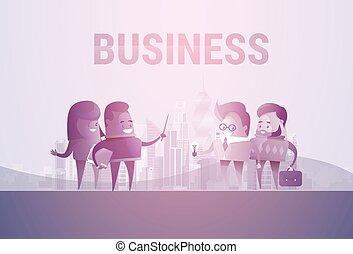 concept, silhouette, professionnels, communication, groupe discussion, réunion, parler